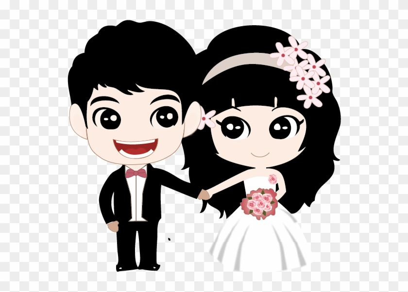 Couple Marriage Cartoon - Wedding Day Couple Cartoon, HD Png Download #2776911