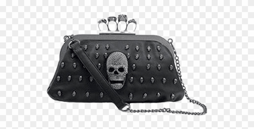 Double Trouble Skull Clutch With Brass Knuckle Handle - Skull Purse With Brass Knuckles Clipart #2781128