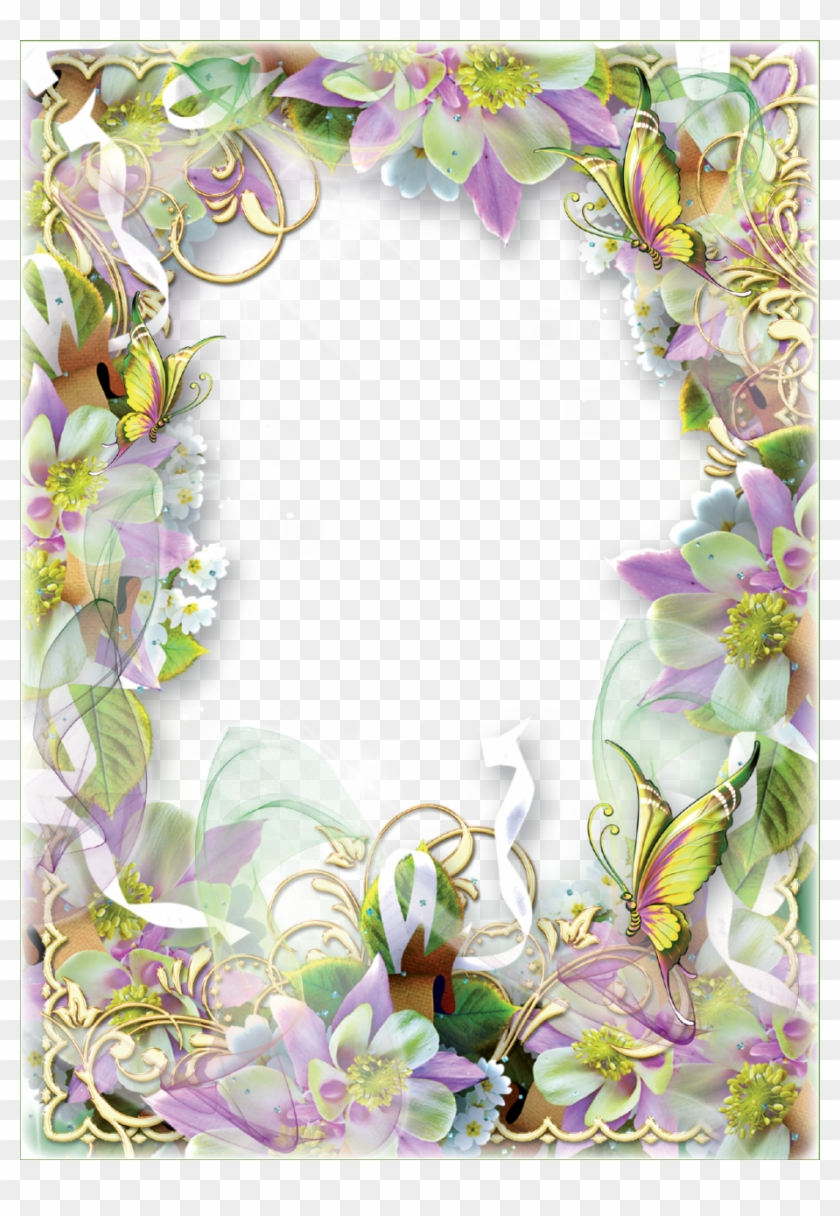 Photo Frame Spring Flowers And Butterflies - Spring Flower Border Clipart - Png Download #2827406