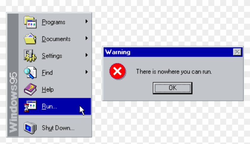 Windows95 Sticker - There Is Nowhere You Can Run Clipart #2835373