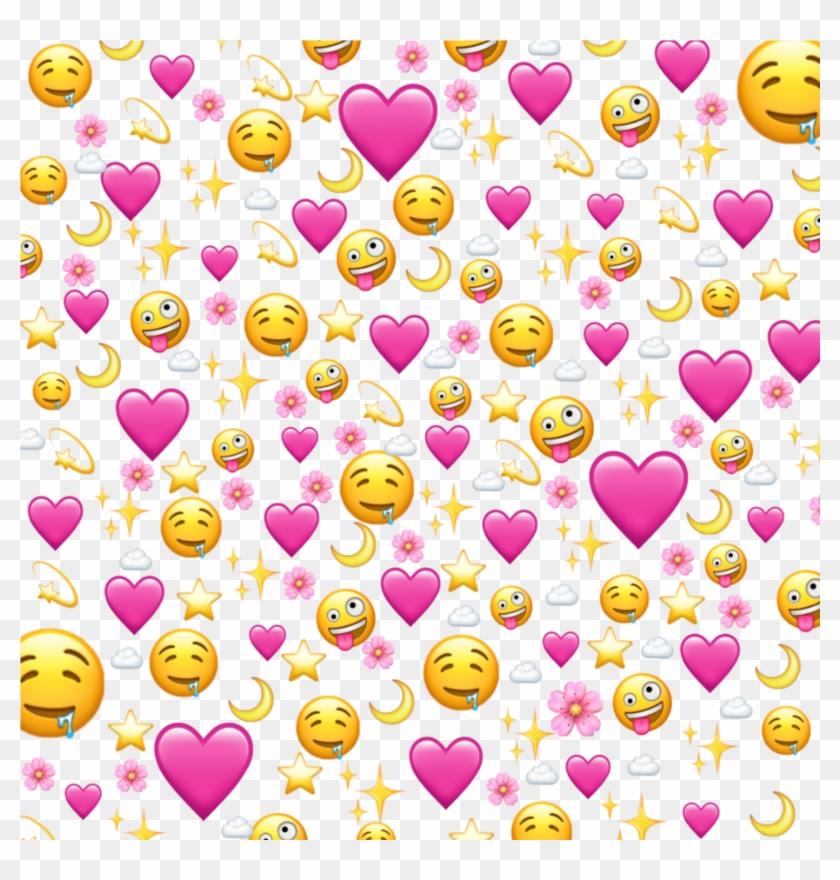 #love #flower #pink #emoji #ios #iphone #heart - Heart Emoji Background Meme Clipart #2842600