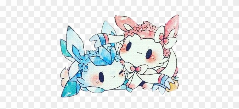 Sylveon Glaceon Pokemon Kawaii Hermanas ภาพ โปเก มอน