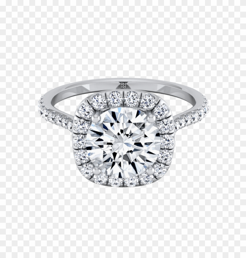Diamond Halo Engagement Ring With Pave Shank In 14k - Engagement Ring Clipart #2870857