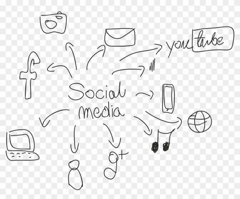 Marketing G Cesarato - Social Media Marketing Line Drawing Clipart #2881183