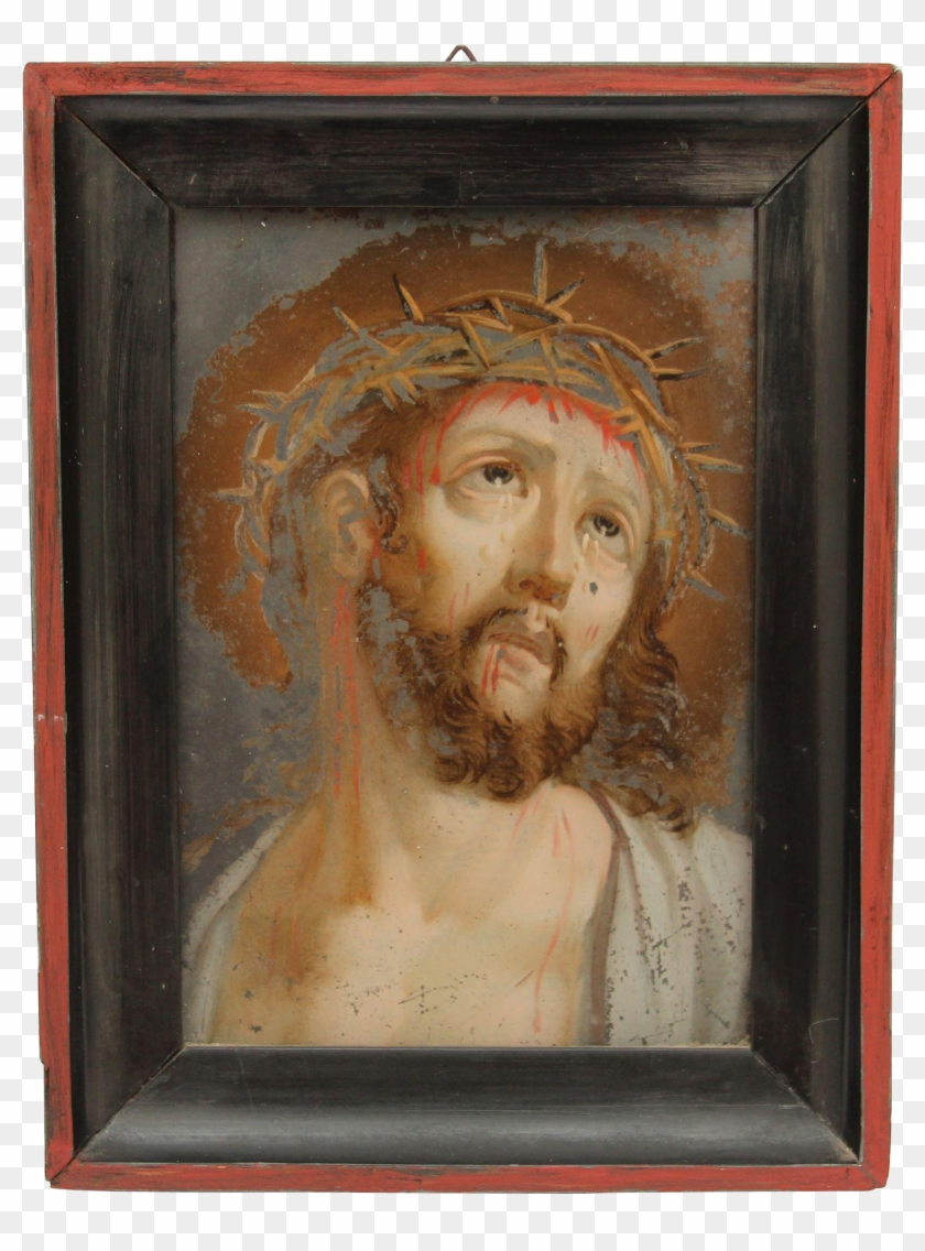 19th Century Reverse Glass Painting Of Jesus With The - Painting Clipart #2890072