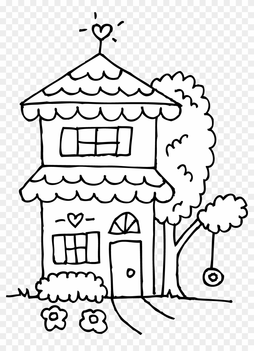 White House Clipart House Shape - Cute House Coloring Page - Png Download #292516