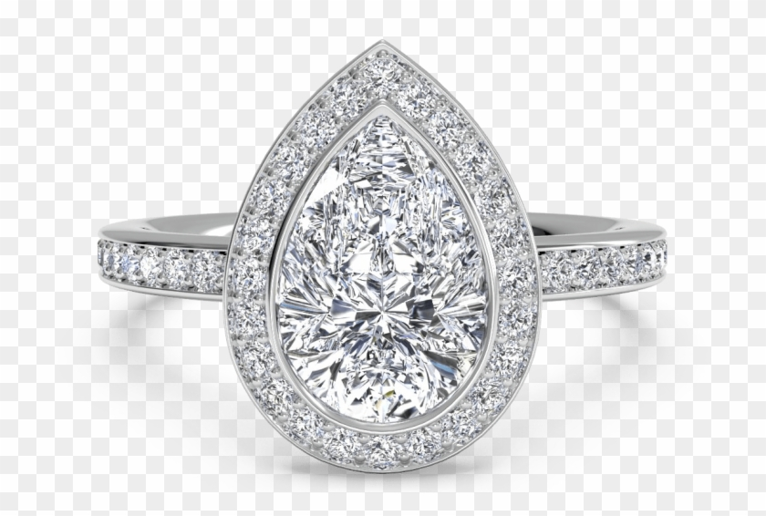 The Pear, Or 'teardrop' Diamond, Is A Truly Unique - Pear Shaped Halo Engagement Ring Clipart #295358