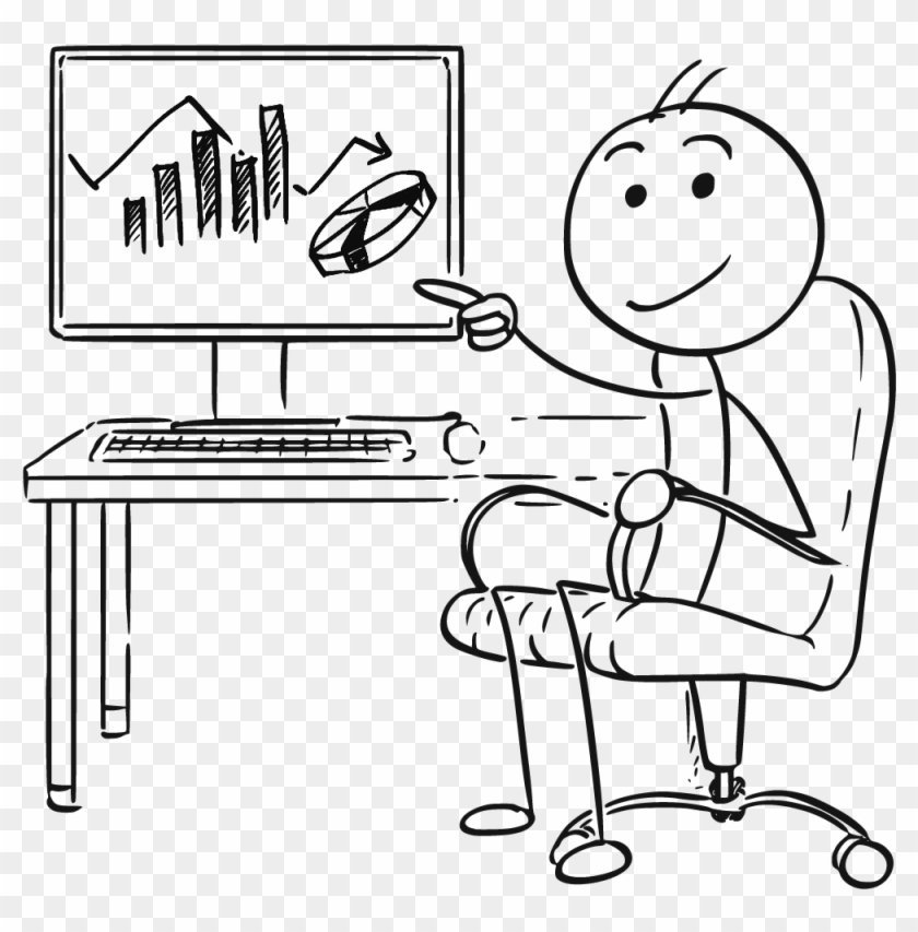 Man Pointing At Screen Charts - Man With A Computer Drawing Clipart #295537
