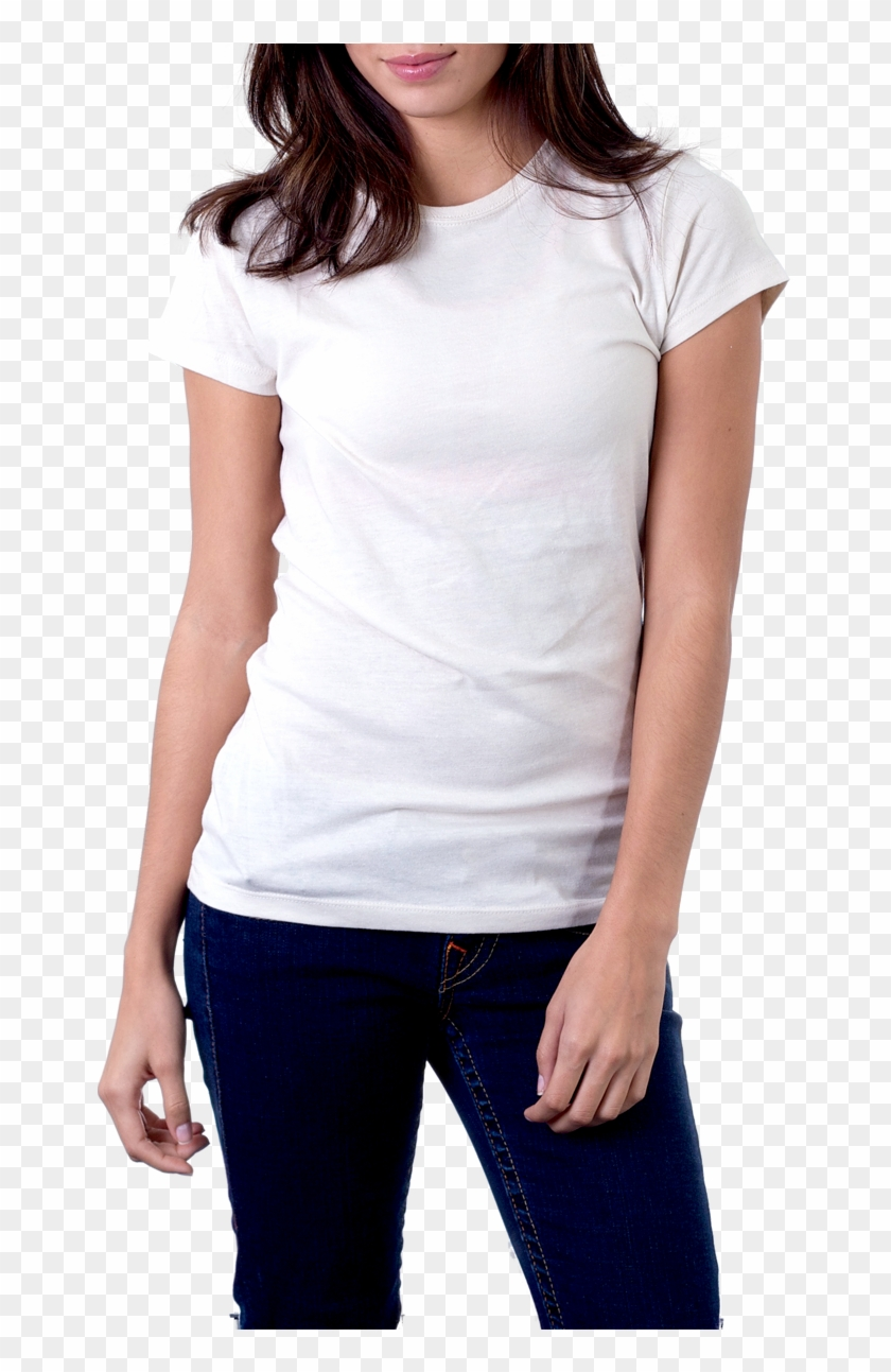 Woman In White T-shirt Png Image - Woman Blank T Shirt Clipart #298081