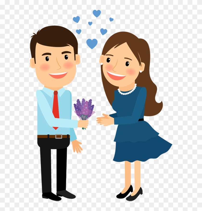 Png Library Cartoon Man Image Group Gives Flower To - Cartoon Man And Woman In Love Clipart #299522