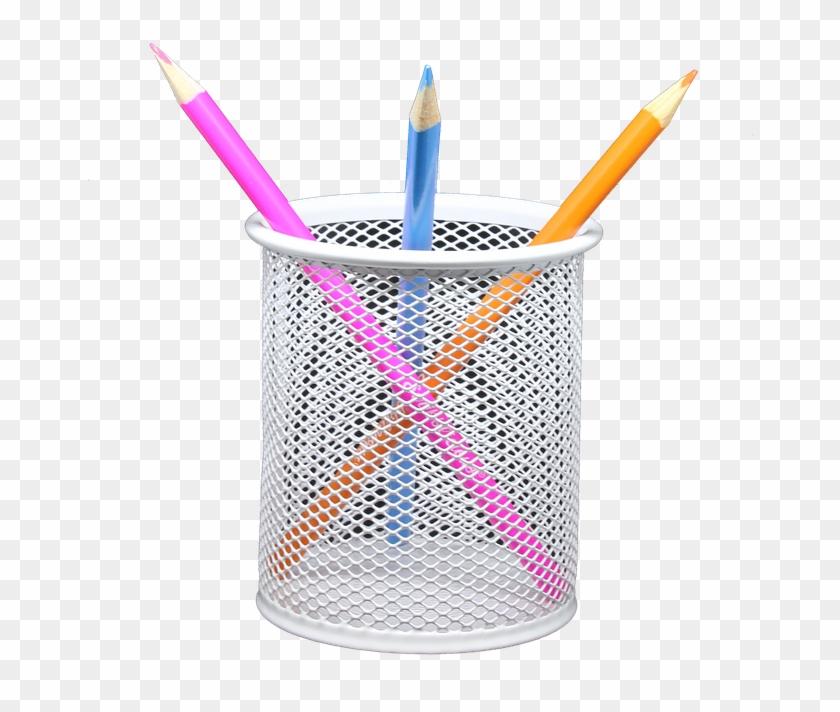 Pencil, Holder, Png, Coloured, Draw, Sketch, Art, Color - Transparent Background Pen Holder Png Clipart #2907364