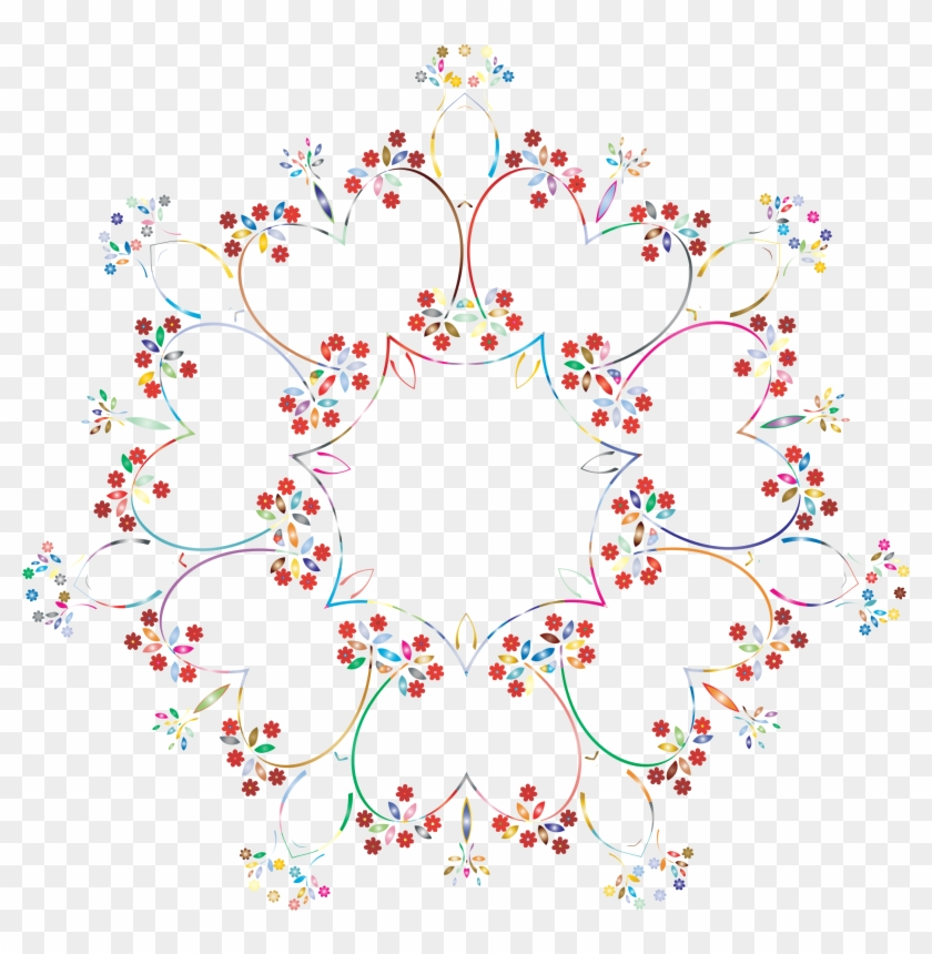 This Free Icons Png Design Of Prismatic Floral Frame - Circle Design Frame Background Transparent Clipart #2918454