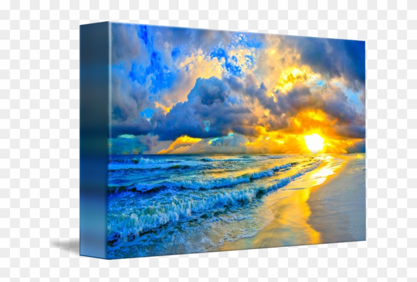 Acrylic Drawing Ocean - Sunset Ocean Acrylic Painting Clipart #2944773