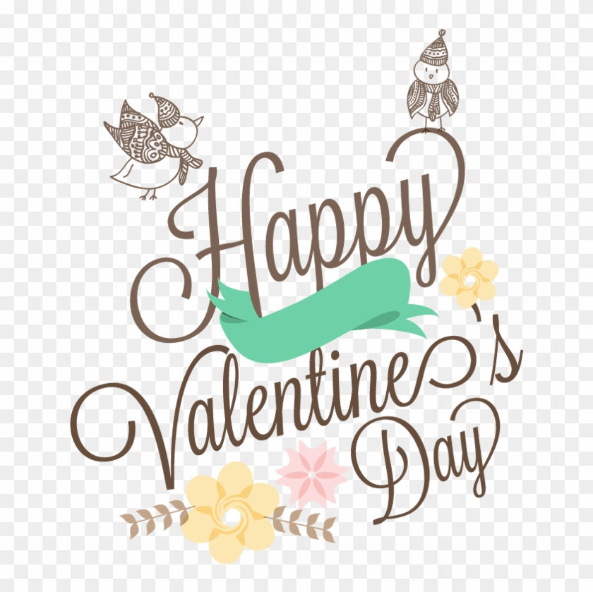 Love Birds Couple With Text Happy Valentine's Day - Happy Valentines Day Birds Clipart #2968170