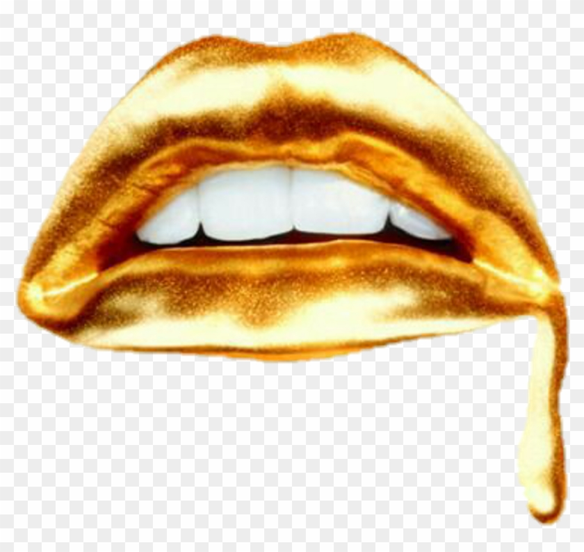 Gold Drip Png Transparent Background - Dripping Lips Transparent Clipart #2988337