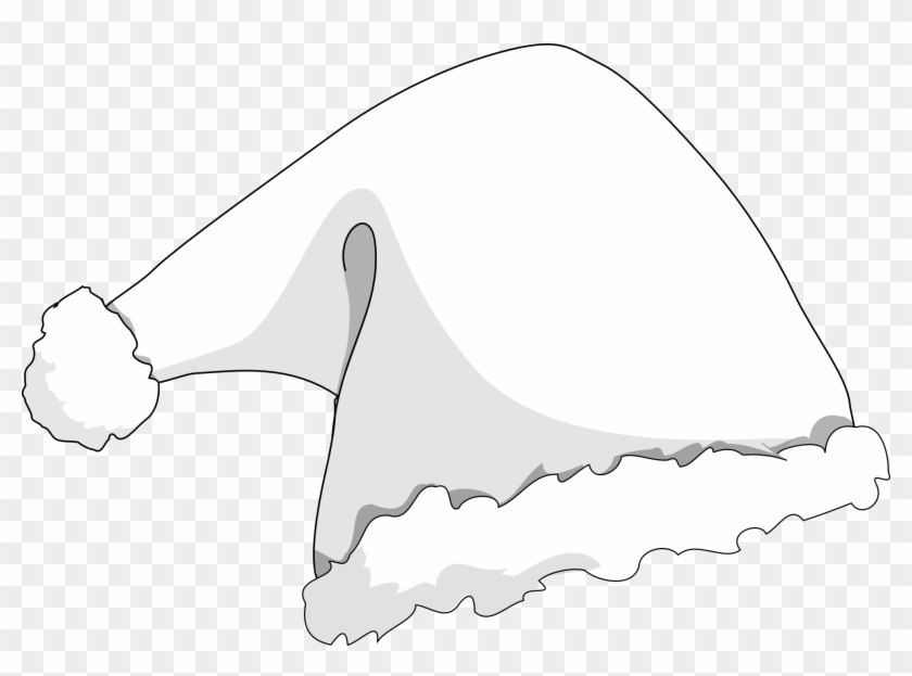 Santa Hat Coloring Picture With Elf Clipart Holiday - Christmas Hat White Png Transparent Png #31878