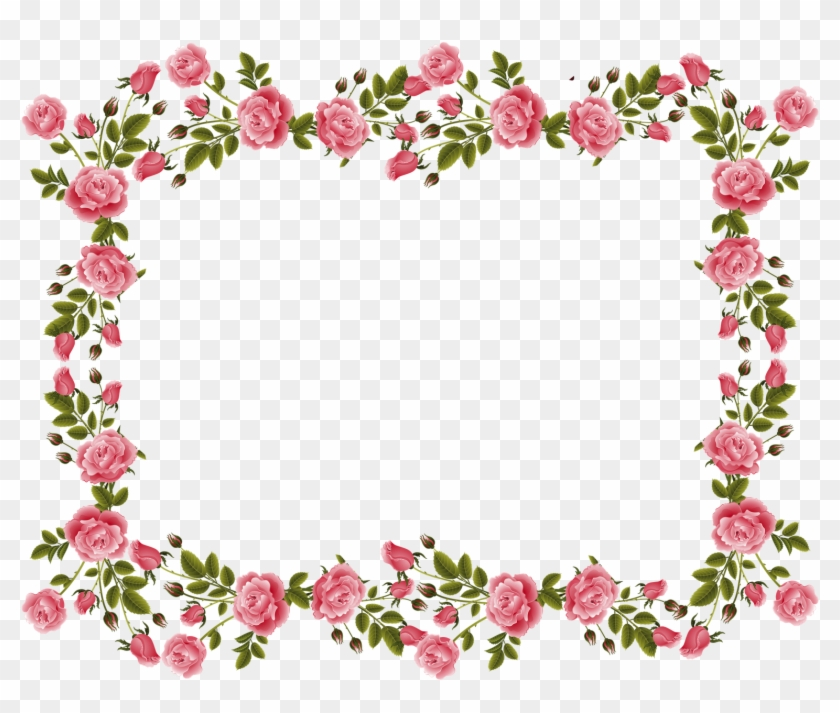 Vintage Border Frame Hd Wallpaper Clipart - Rose Border Flower Design - Png Download #38698