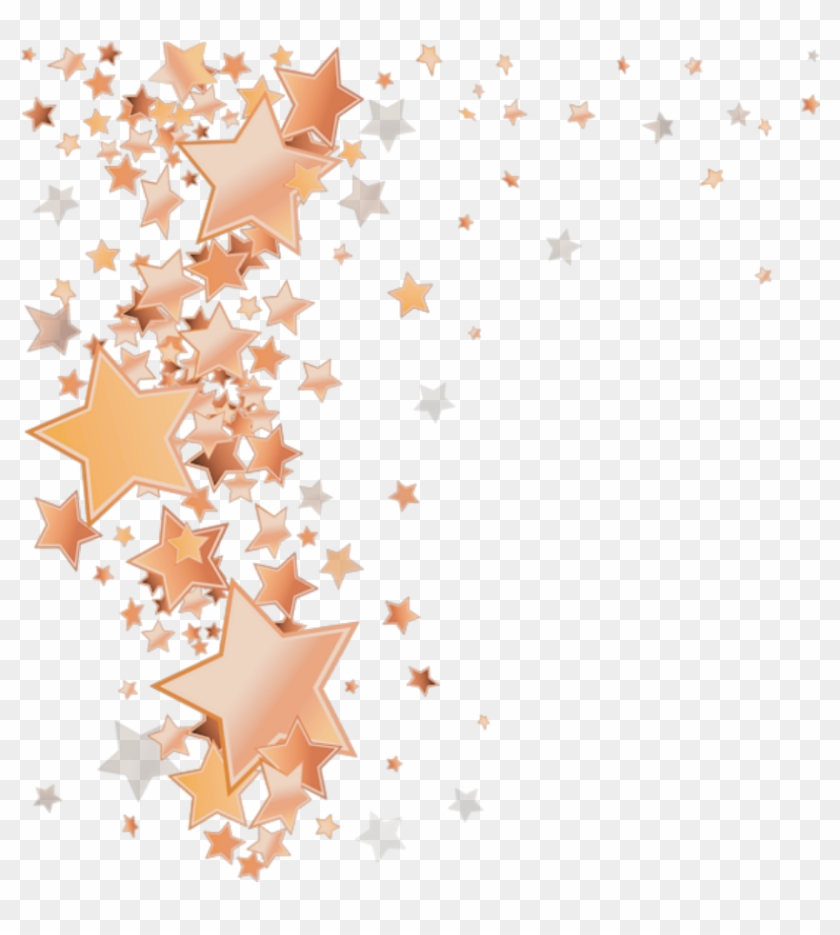 Rosegold Stars Star Falling Border - Gold Stars Png Transparent Clipart #301847
