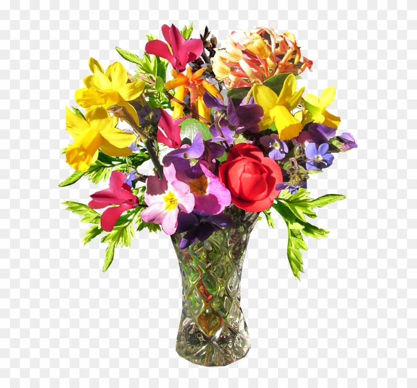Flower, Vase, Spring - Flower With Vase Png Clipart