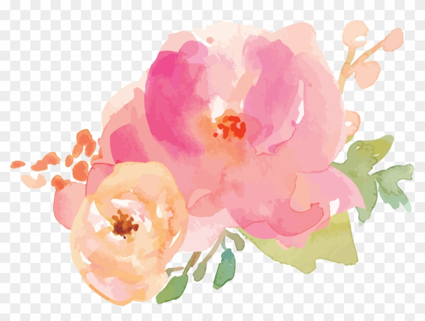 Border Flowers Watercolor - Watercolor Pink Pastel Flowers Clipart #3043449