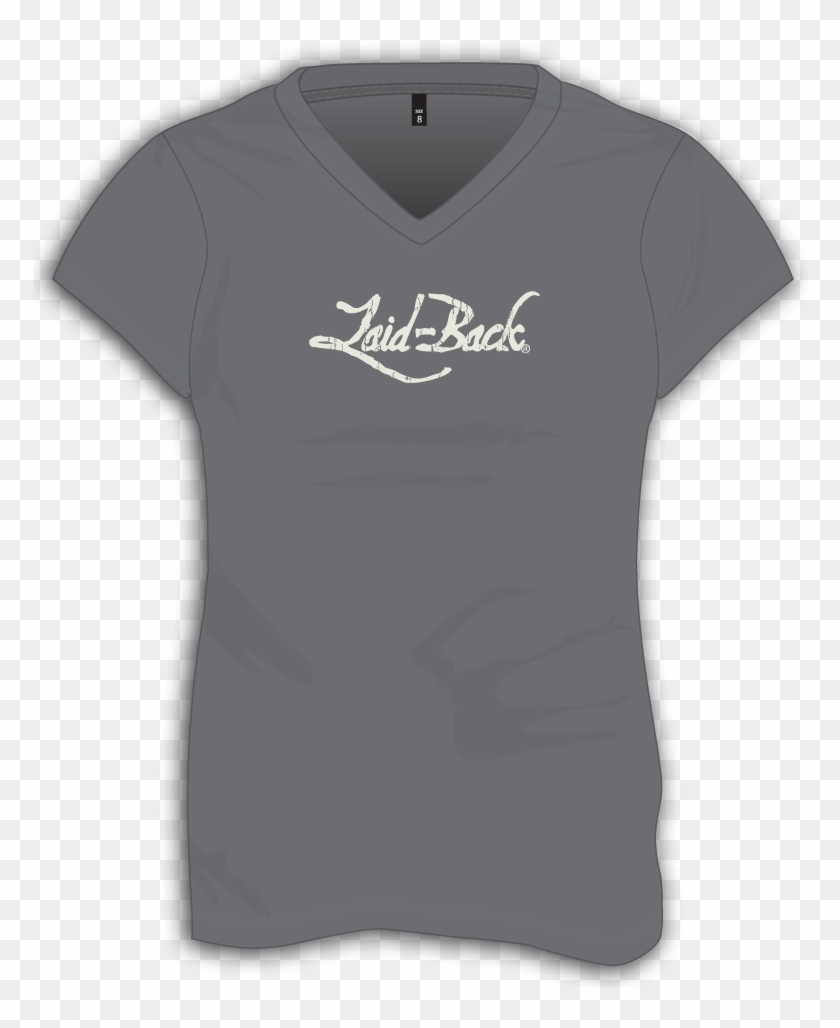 La#back Logo Off White On Charcoal Ladies Chill V Neck - Active Shirt Clipart #3045728