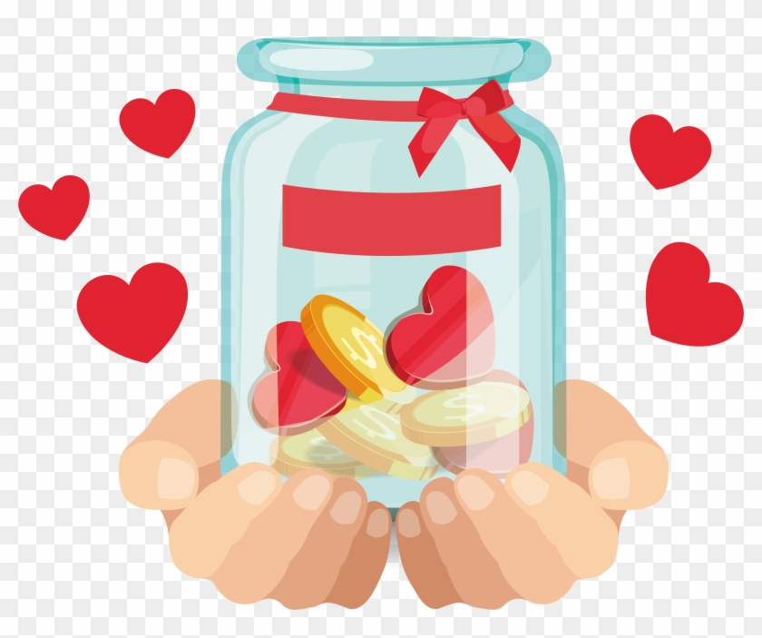 Donation Png Free Download - Hand Holding A Jar Drawing Clipart #3108115