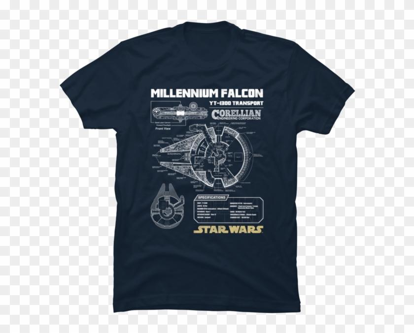 Millennium Falcon Schematic - Millennium Falcon T Shirt Clipart #3111505