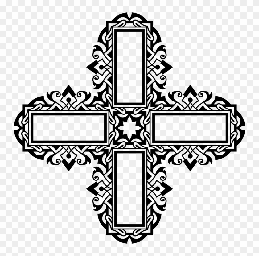 Catholic Clipart Cross Line - Catholic Ornament Line Art - Png Download #3133760