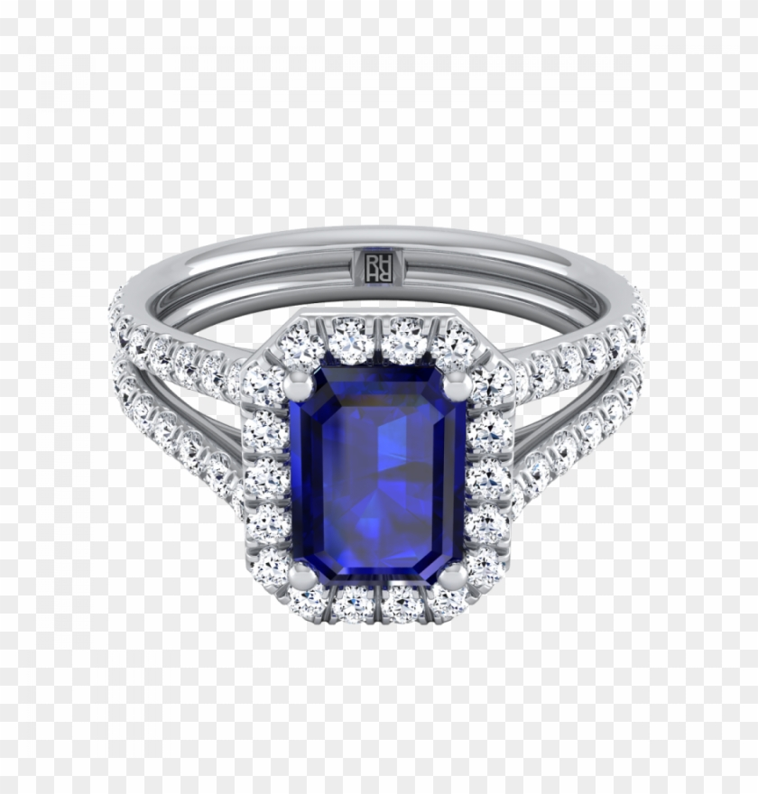 Emerald-cut Sapphire With Diamond Halo Engagement Ring - Engagement Ring Clipart #3142244