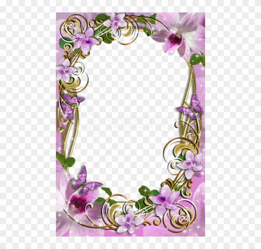 Free Png Transparent Delicate Frame With Flowers Background - Flowers Frame Designs Clipart #3156773