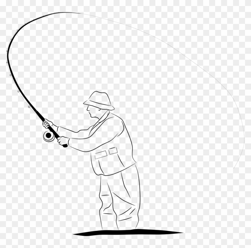 Rod Drawing Fishing Fisherman Line Drawing Clipart 3159192 Pikpng