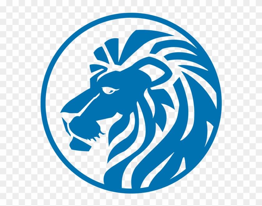 Lion Head Blue - Lion Head Logo Blue Clipart #320705
