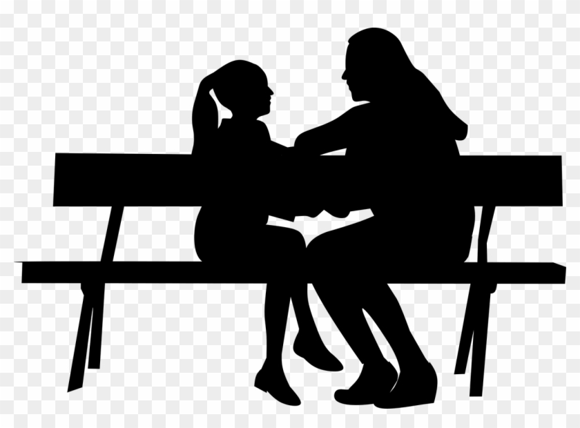 People Talking On Bench - Mother And Daughter Silhouette ...