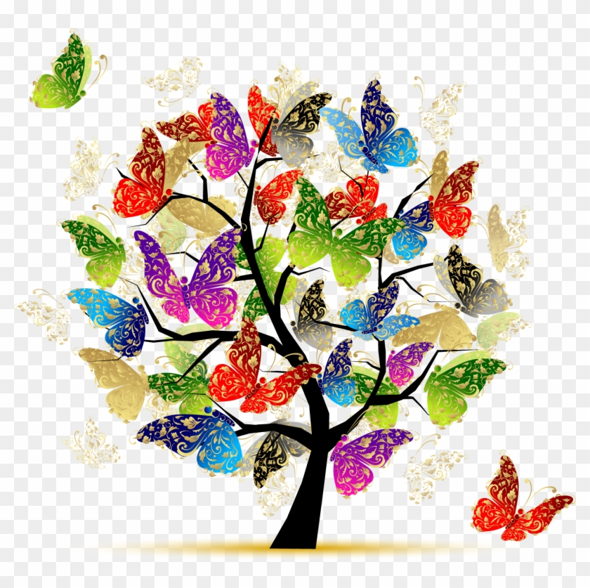 Donor Recognition » Butterfly Tree Illustration - Tree Of Life With Butterflies Clipart #3213314