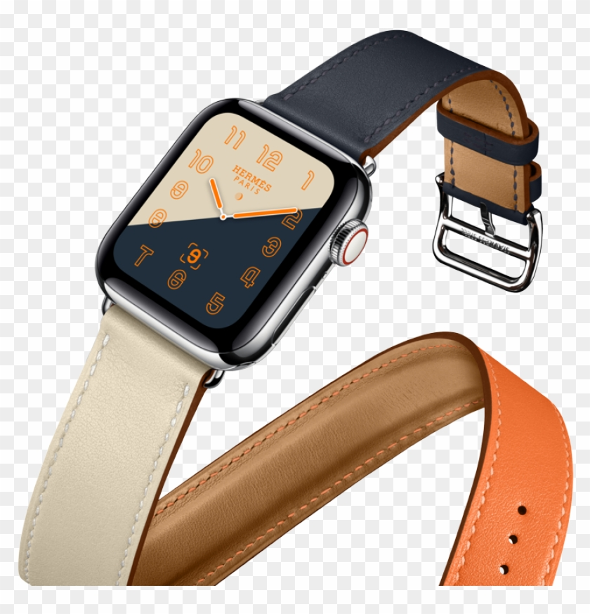 The Iconic Hermès Double Tour Orange, Craie And Indigo - Apple Watch Series 4 Hermes Clipart #3214977