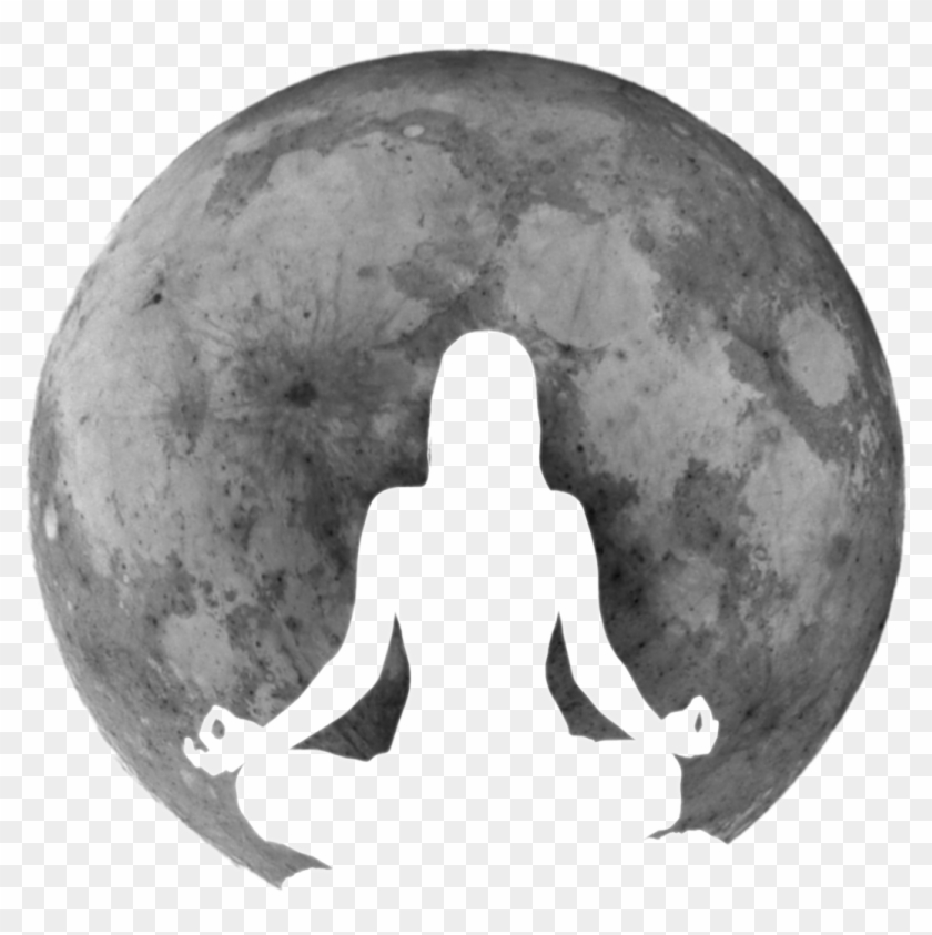 Full Moon Meditation - Silhouette Clipart #3243650
