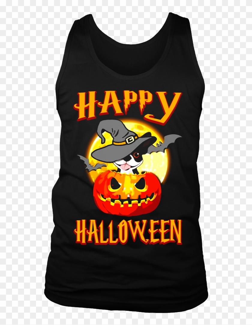 Boston Terrier Dog Happy Halloween T Shirt Pumpkin - Active Tank Clipart #3247726