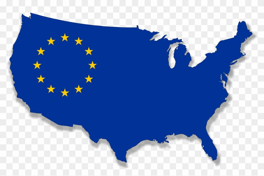 Us-europe Flag Map Clip Art Download - Port Of New Orleans On Map - Png Download #3293141
