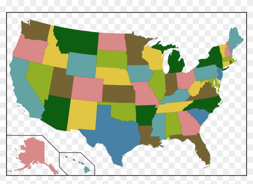 File Color Us Map With Borders Svg Wikimedia Commons - You Guys Vs Yall Map Clipart #3293863