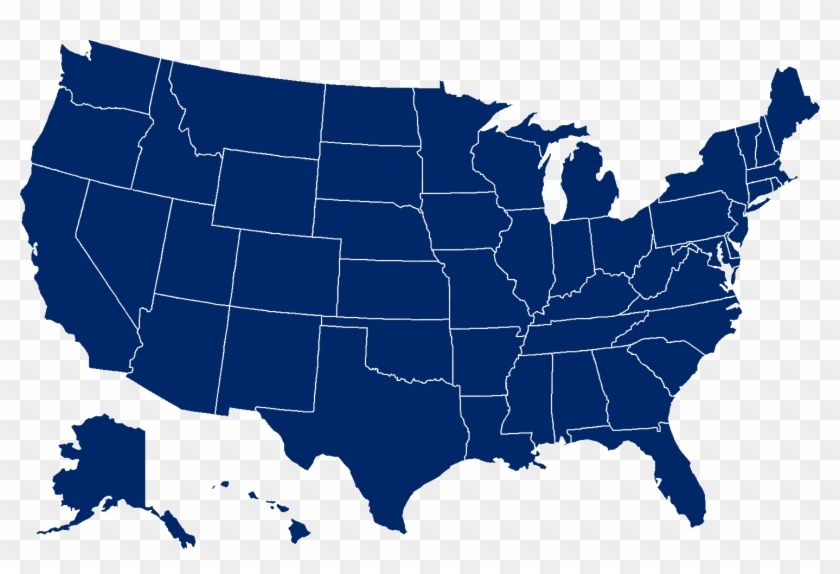 Usa Map Png - Blue Map Of The Us Clipart #330933