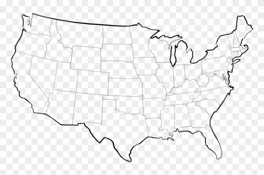 Usa Map Png Picture - Black And White American Map ...