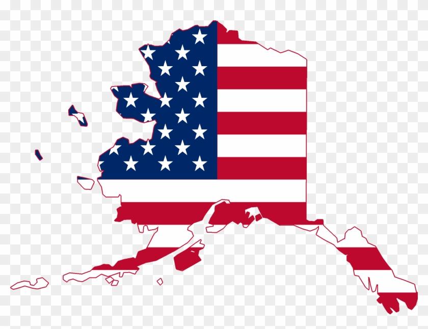 Flag Map Of Alaska - United States Clipart #331970
