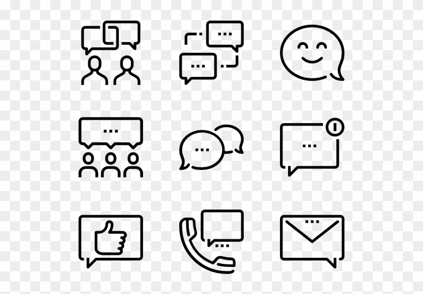 Message Bubbles - Web Design Line Icon Clipart #332200
