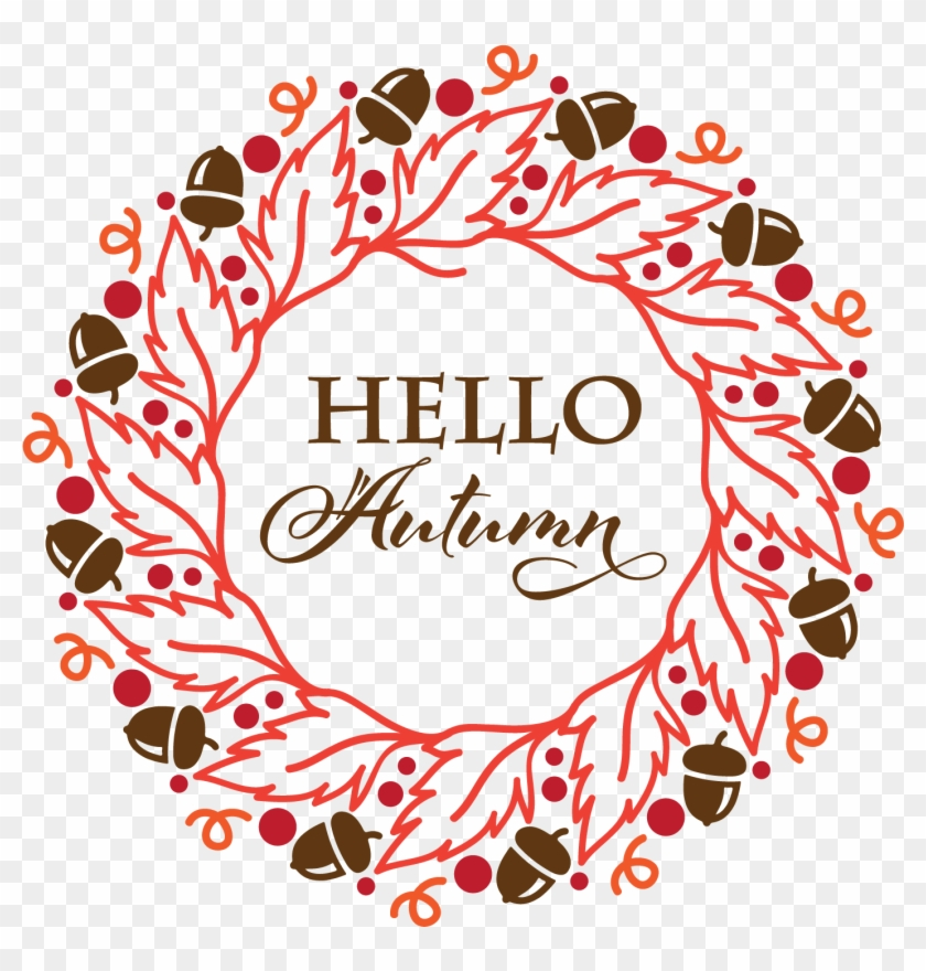 Hello Autumn Wreath - Circle, HD Png Download #3300042