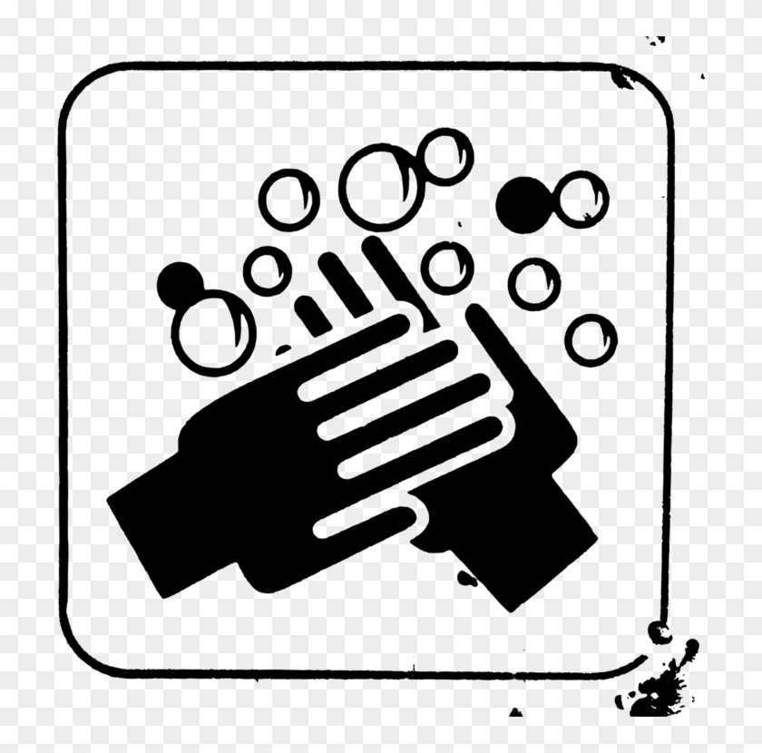 Hand Washing Black And White Soap Free Commercial Clipart - Wash Your Hands Sign Black And White - Png Download #3310681