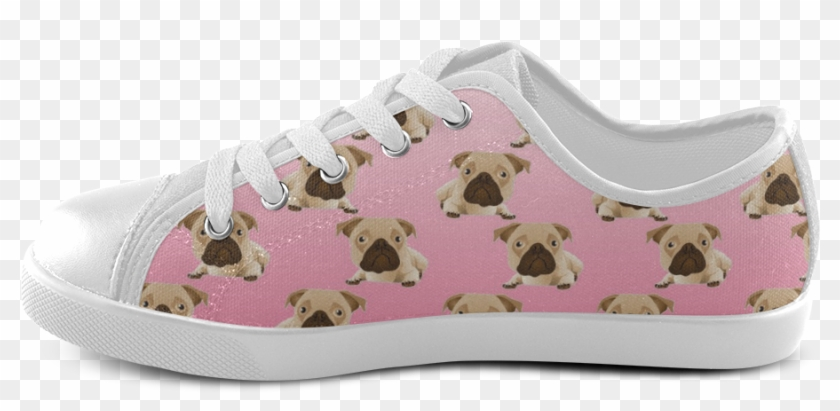 Cute Pugs On Pink Gradient Background Canvas Kid's - Skate Shoe Clipart #3318812