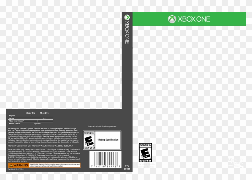 Click Here For A Template Of The Xbox One Game Cover - Xbox One Game Cover Template Clipart@pikpng.com