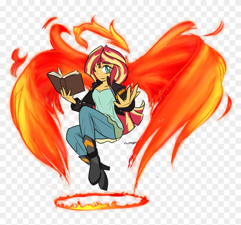 Thattagen, Book, Equestria Girls, Fire, Halo, Magic, - Girls Fire Phoenix Clipart #3377054