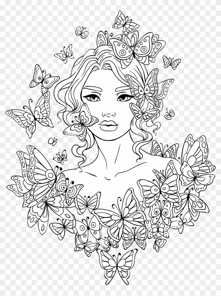 Free Adult Photos free adult coloring page - girl coloring pages for adults