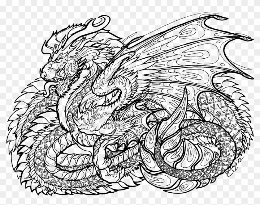 Free Printable Coloring Pages For Adults Advanced Dragons Coloring Pages Of Cool Dragons Clipart 3380021 Pikpng